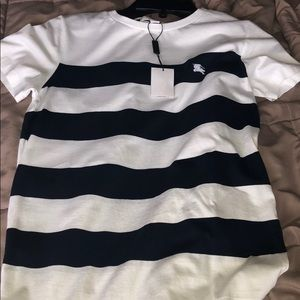 Burberry navy blue and white stripped T-shirt.